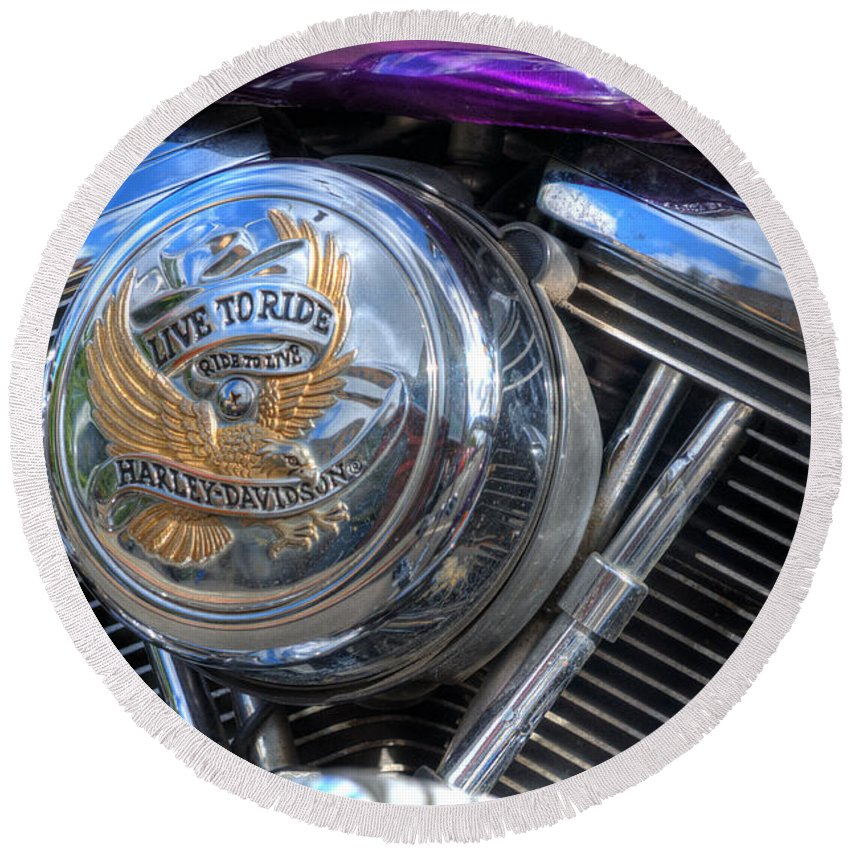 Harley Davidson Round Beach Towel featuring the photograph Live To Ride by Steve Purnell