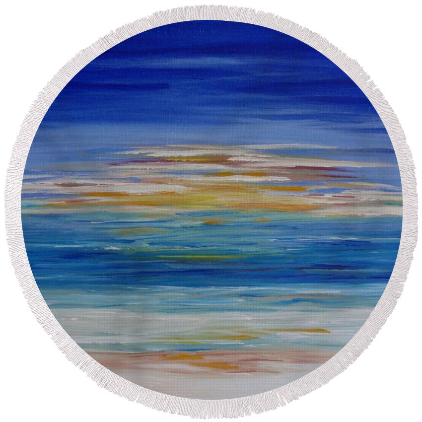 Painting Round Beach Towel featuring the painting Lively Seascape by Tatjana Popovska