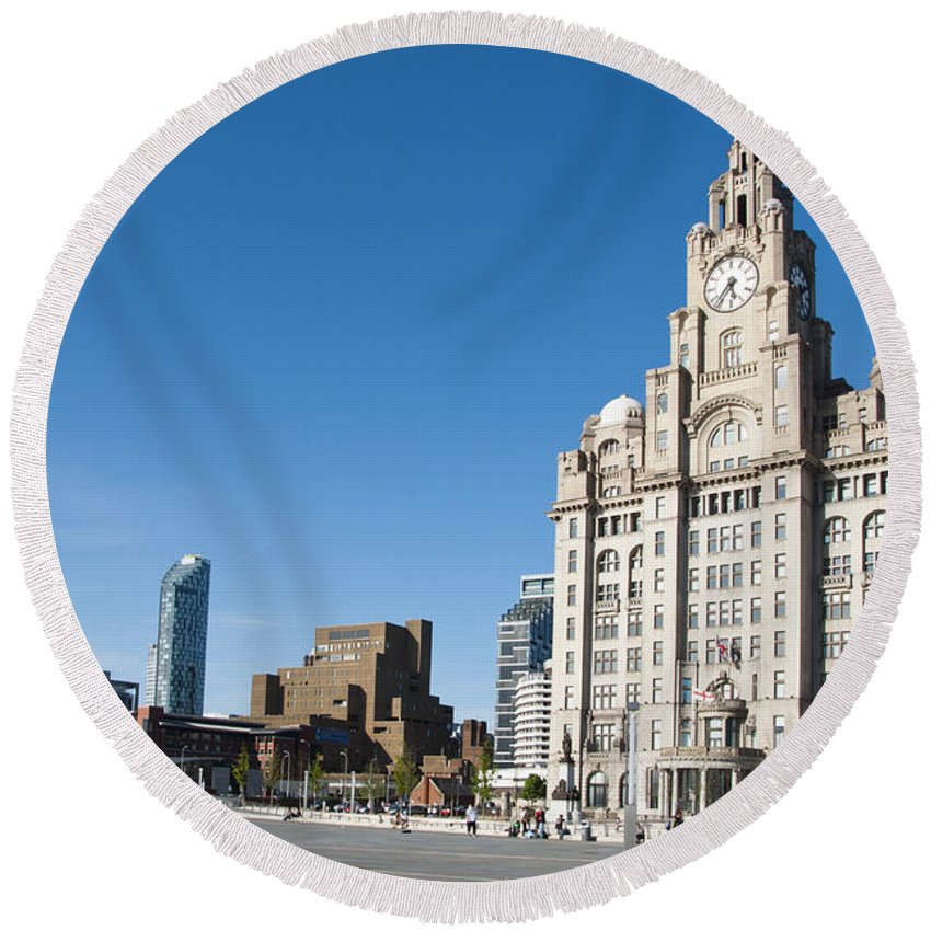 2011 Round Beach Towel featuring the photograph Liverpool Skyline by Andrew Michael