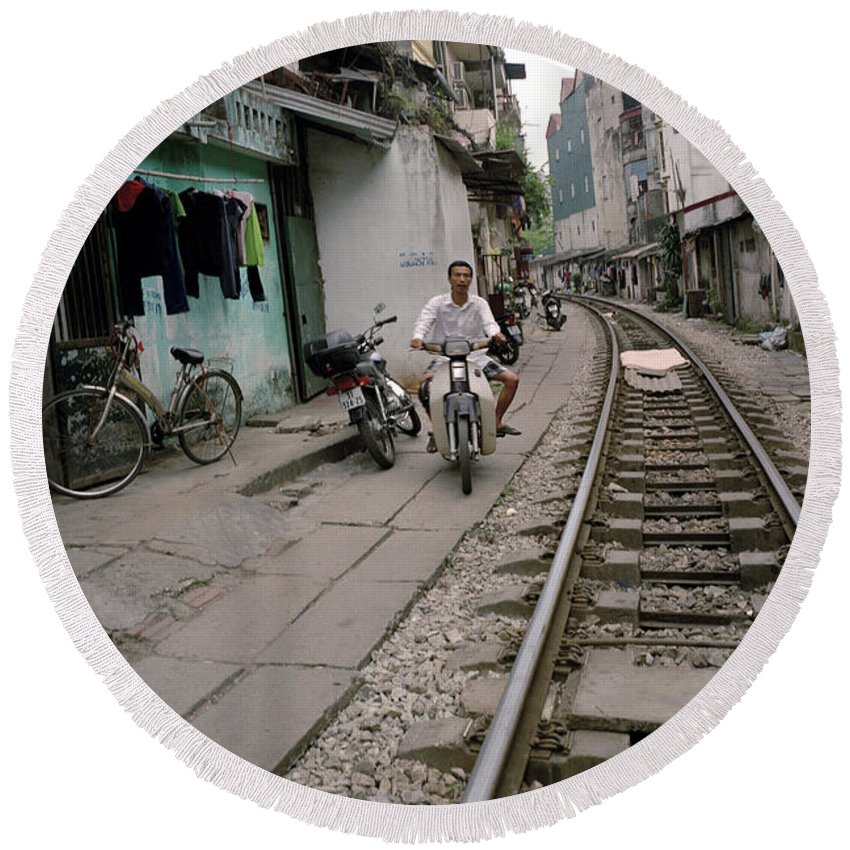 Asia Round Beach Towel featuring the photograph Living By The Tracks In Hanoi by Shaun Higson
