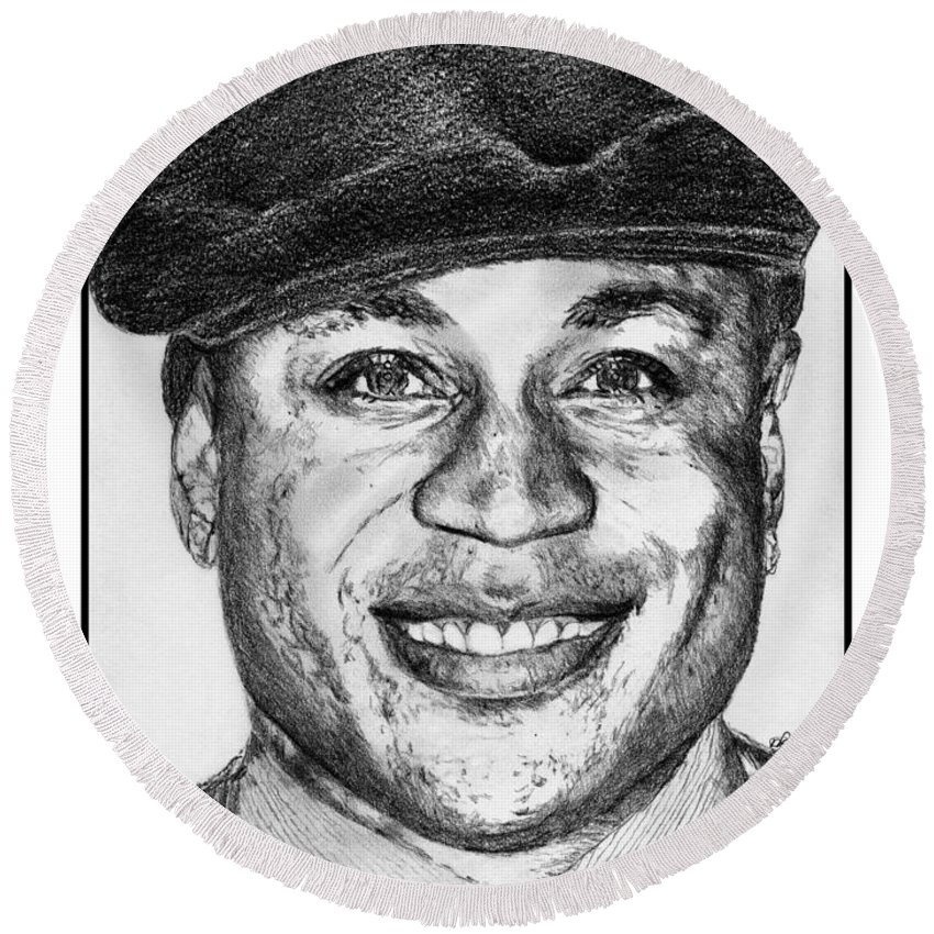 Ll Cool J Round Beach Towel featuring the drawing Ll Cool J In 2010 by J McCombie