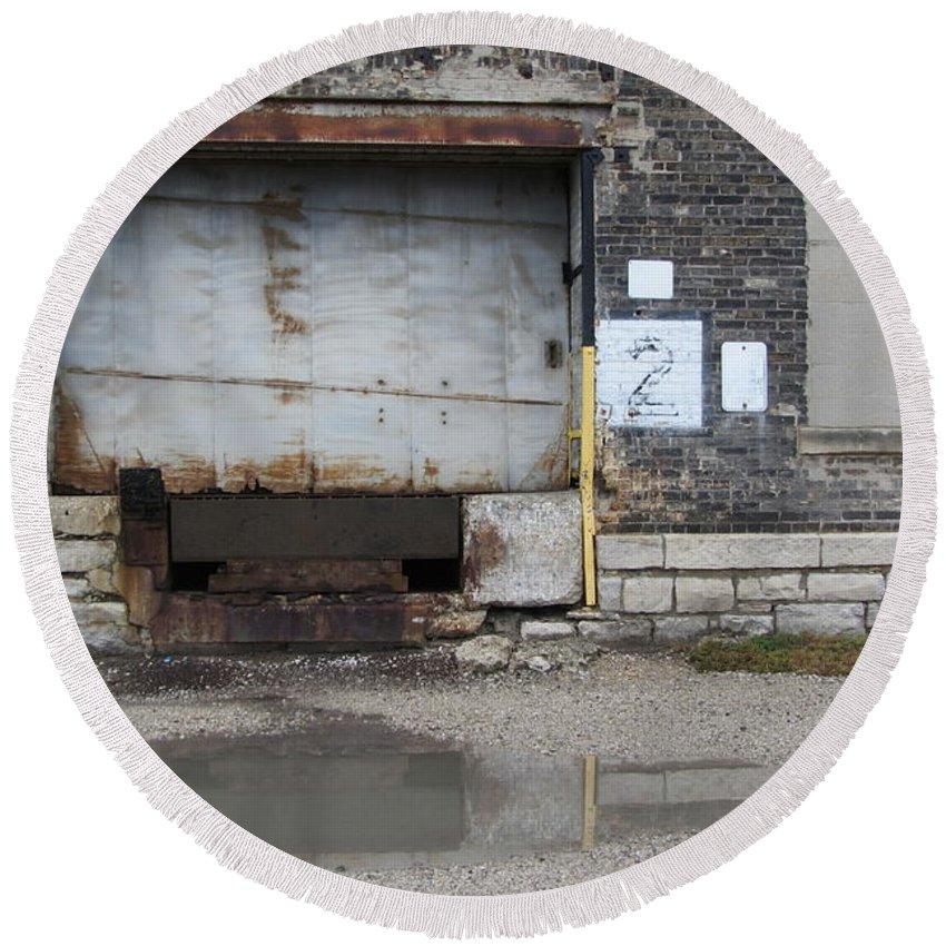 Milwaukee Round Beach Towel featuring the photograph Loading Dock Door 2 by Anita Burgermeister