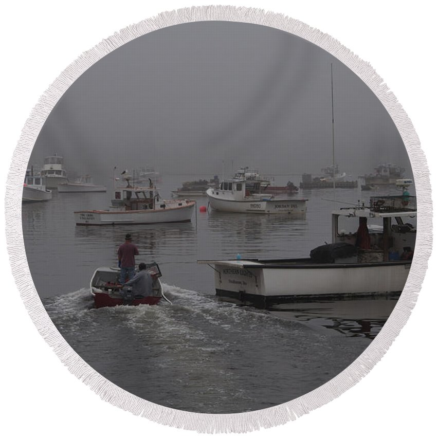 Boats Round Beach Towel featuring the photograph Lobstermen To Work by Glenn Gordon