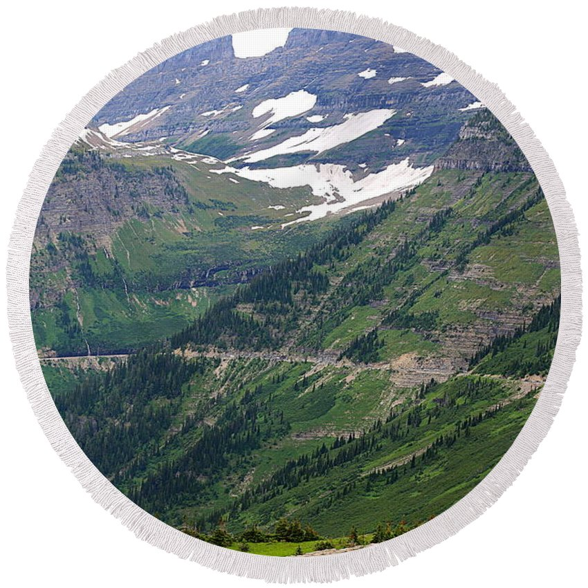 Glacier Round Beach Towel featuring the photograph Logan's Pass Dimension by Carol Groenen