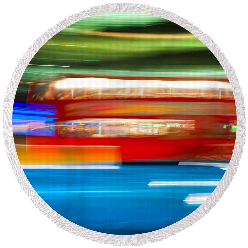 Asphalt Round Beach Towel featuring the photograph London Bus Motion by Luciano Mortula