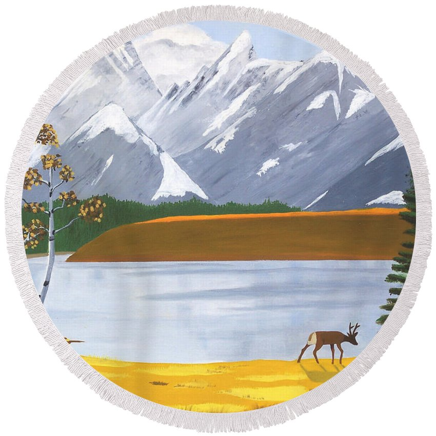 Lone Deer Round Beach Towel featuring the painting Lone Deer by Don Monahan
