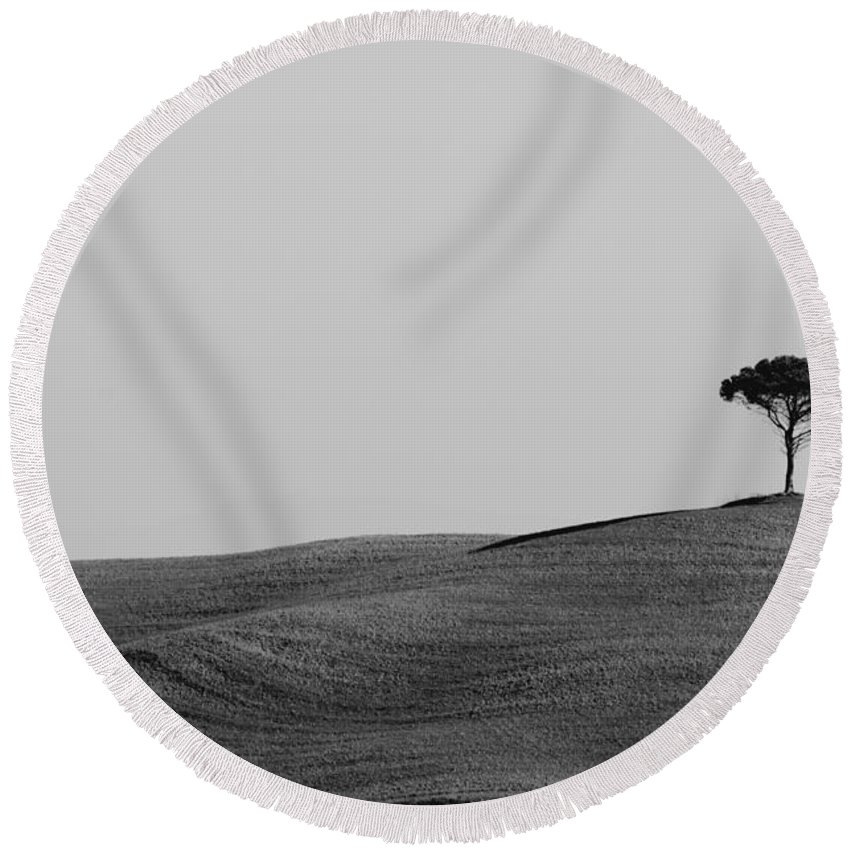 Tree Round Beach Towel featuring the photograph Lonely Tree On The Hill by Mats Silvan