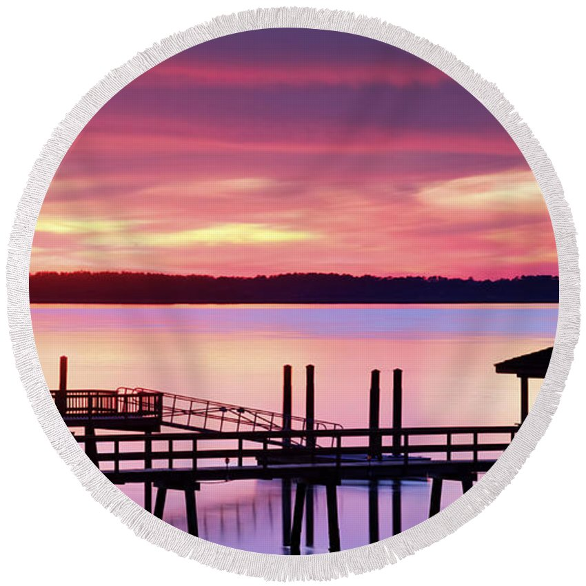 Beaufort County Round Beach Towel featuring the photograph Long After Sunset by Phill Doherty