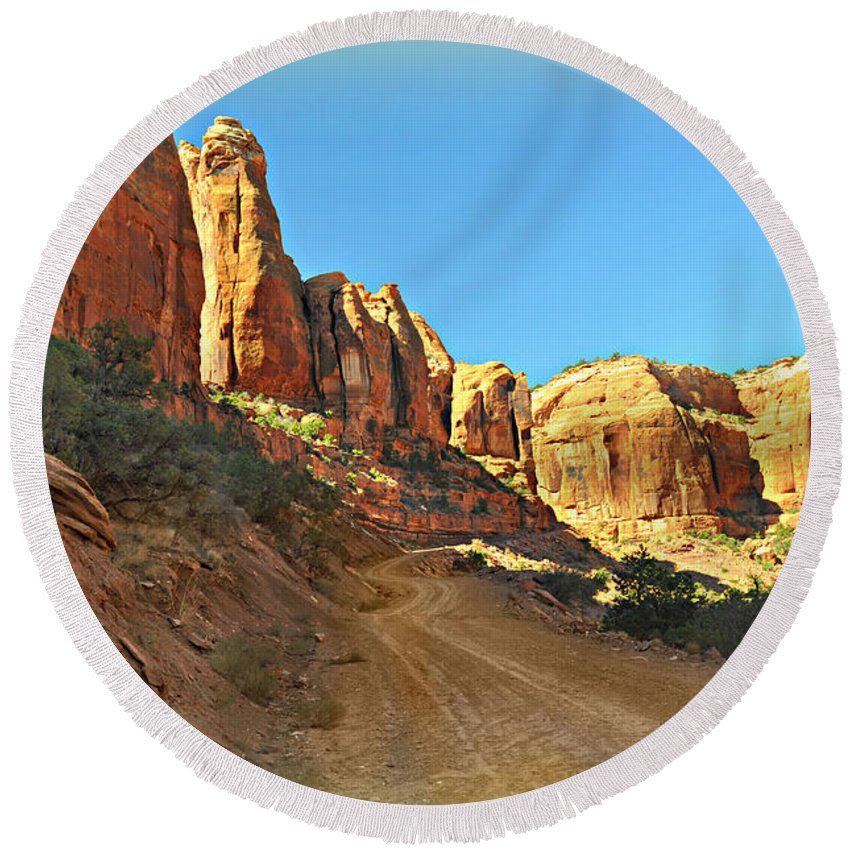 Moab Round Beach Towel featuring the photograph Long Canyon 1 by Marty Koch