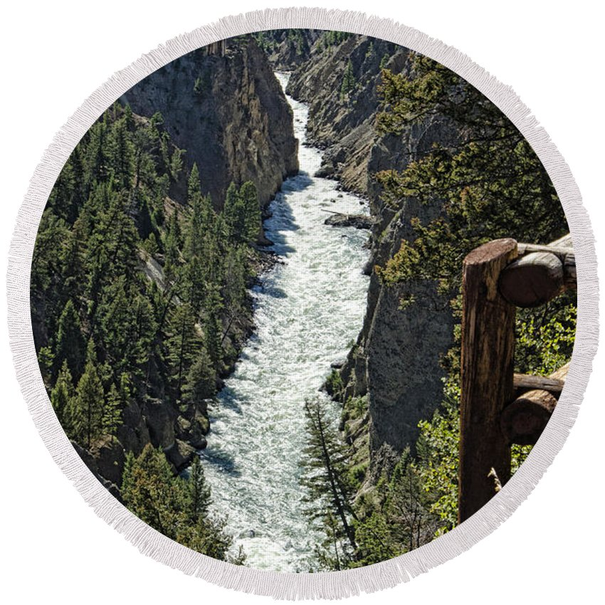 Yellowstone National Park Round Beach Towel featuring the photograph Long River View by Jon Berghoff