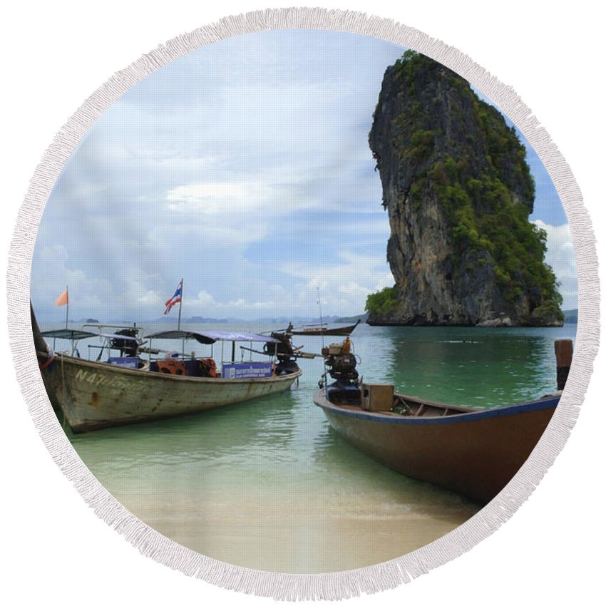 Phuket Round Beach Towel featuring the photograph Long Tail Boats Thailand by Bob Christopher