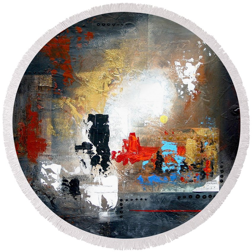 Abstract Round Beach Towel featuring the painting Longing by Germaine Fine Art