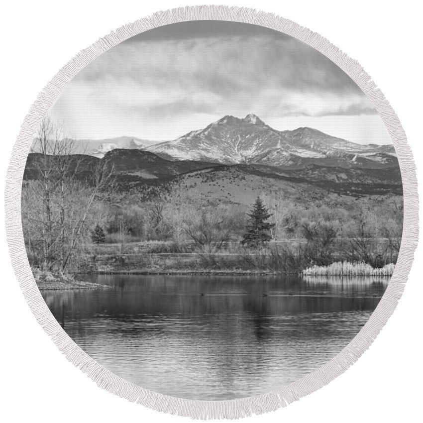 'longs Peak' Round Beach Towel featuring the photograph Longs Peak And Mt Meeker Sunrise At Golden Ponds Bw by James BO Insogna