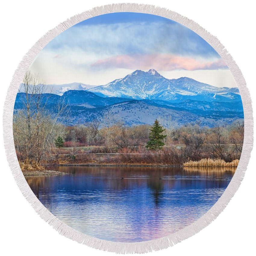 'longs Peak' Round Beach Towel featuring the photograph Longs Peak And Mt Meeker Sunrise At Golden Ponds by James BO Insogna