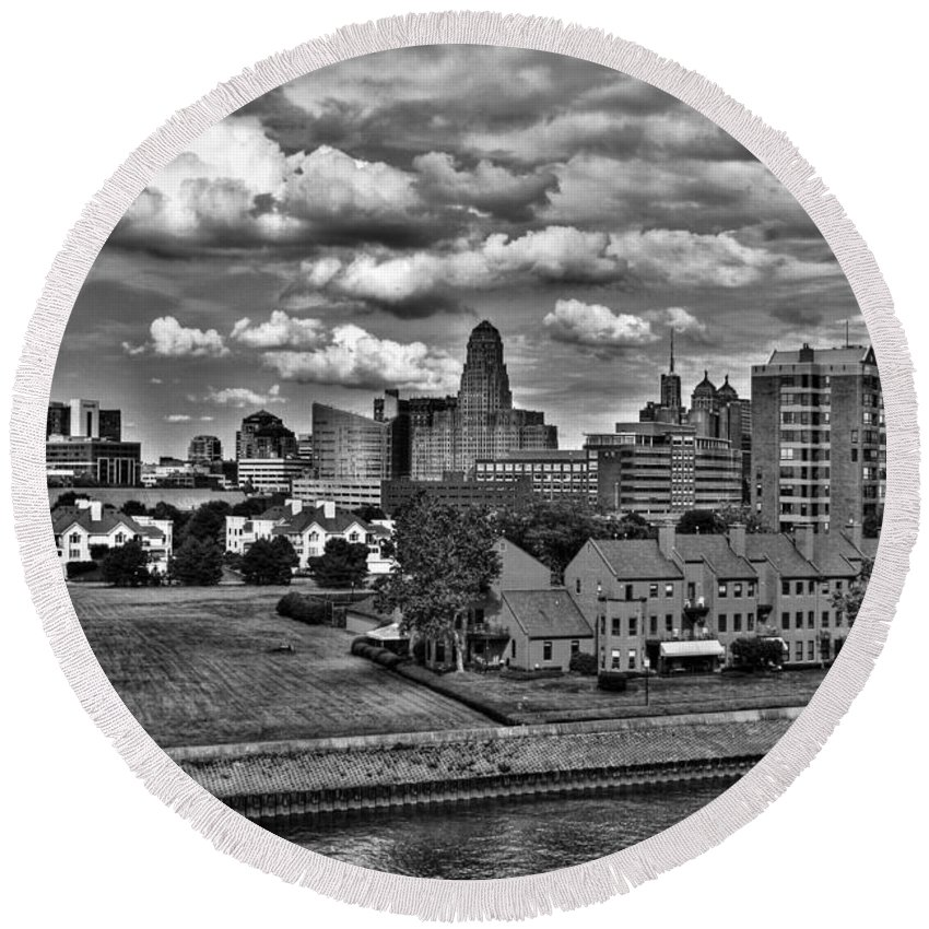Round Beach Towel featuring the photograph Looking Downtown From The Erie Basin Marina by Michael Frank Jr