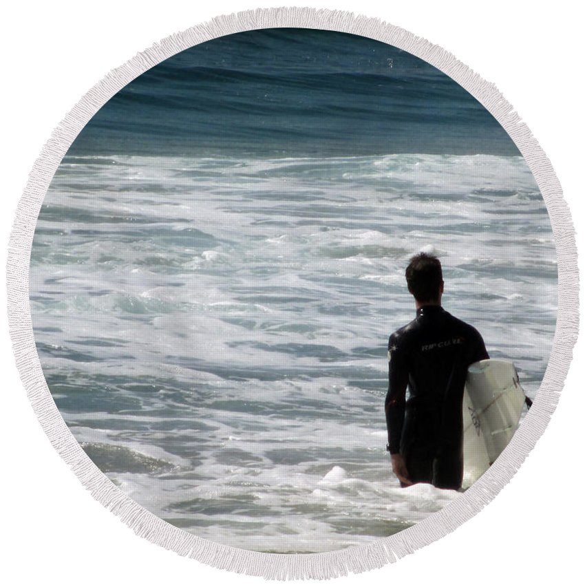 Carlsbad Round Beach Towel featuring the photograph Looking For The Big One by Laurie Search