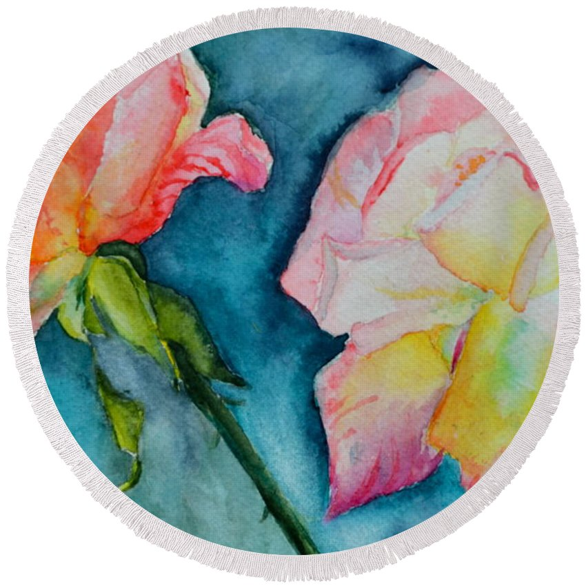 Rose Round Beach Towel featuring the painting Looking Forward Looking Back by Beverley Harper Tinsley