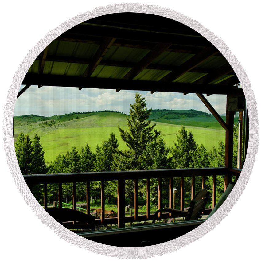 Americas Round Beach Towel featuring the photograph Looking Out From Inside by Roderick Bley