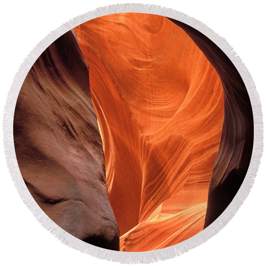 Antelope Canyon Round Beach Towel featuring the photograph Looking Up At Antelope Canyon by Dave Mills