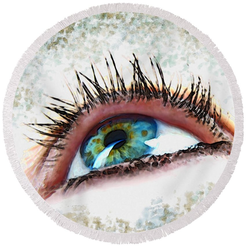 People Round Beach Towel featuring the photograph Looking Up Eye Art by Debbie Portwood