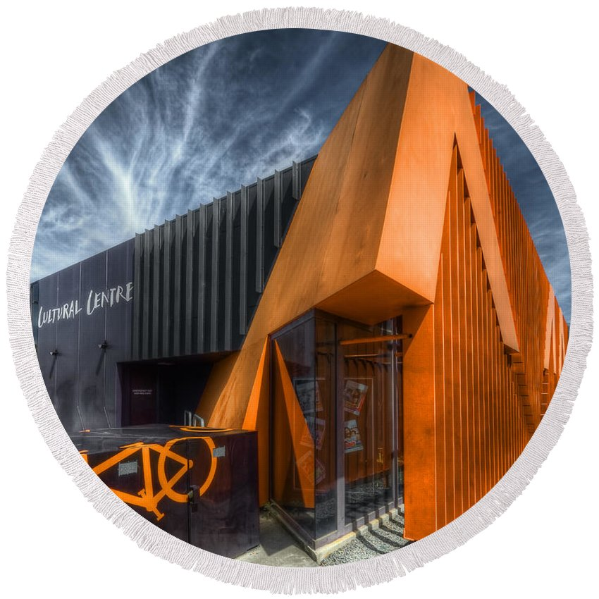 Orange Round Beach Towel featuring the photograph L'orange Facade by Wayne Sherriff