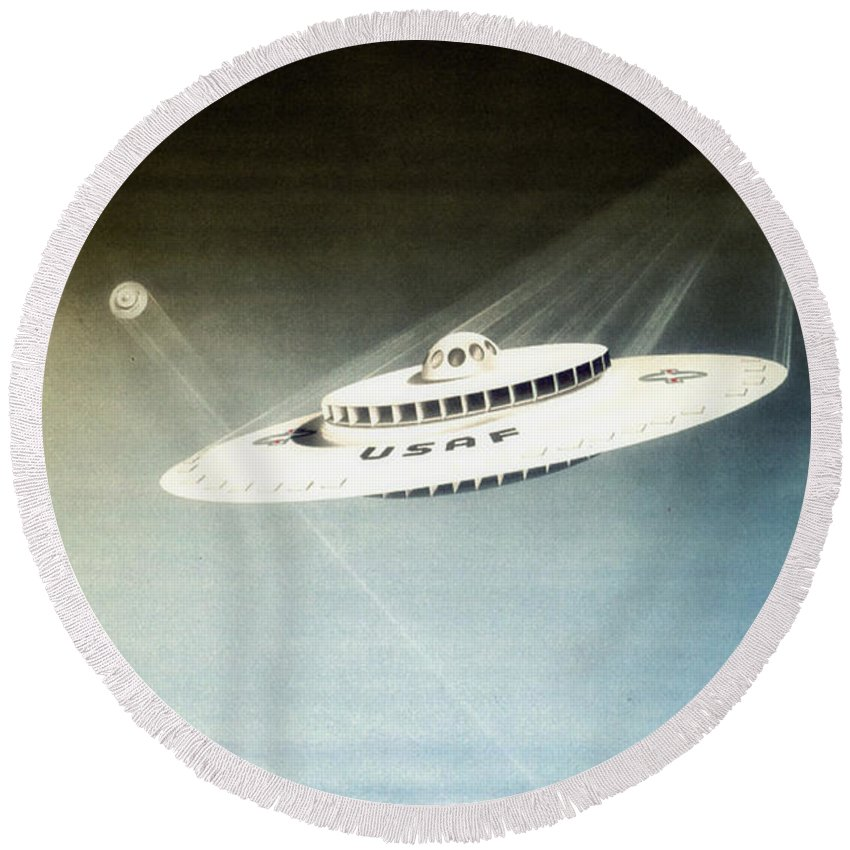 Lost In Space Round Beach Towel featuring the digital art Lost In Space by Bill Cannon