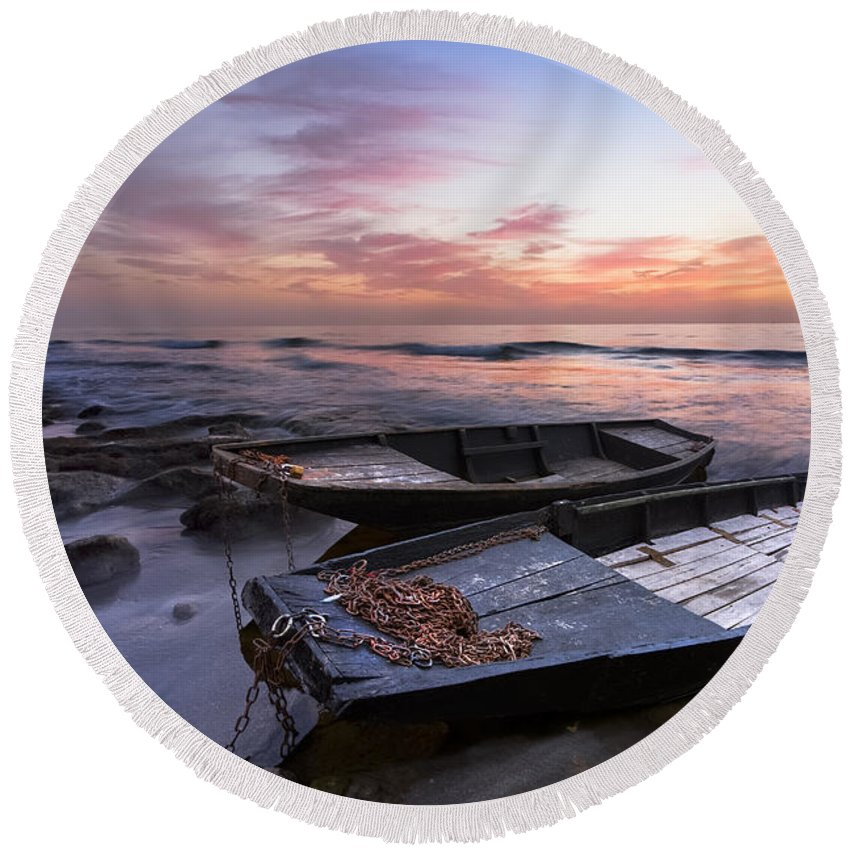Boats Round Beach Towel featuring the photograph Lost Sailors by Debra and Dave Vanderlaan