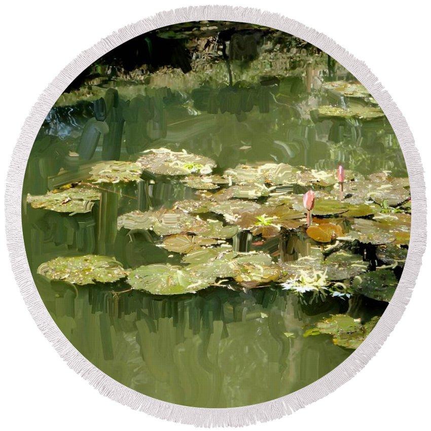 Lotus Pond Round Beach Towel featuring the painting Lotus Pond 2 by Usha Shantharam