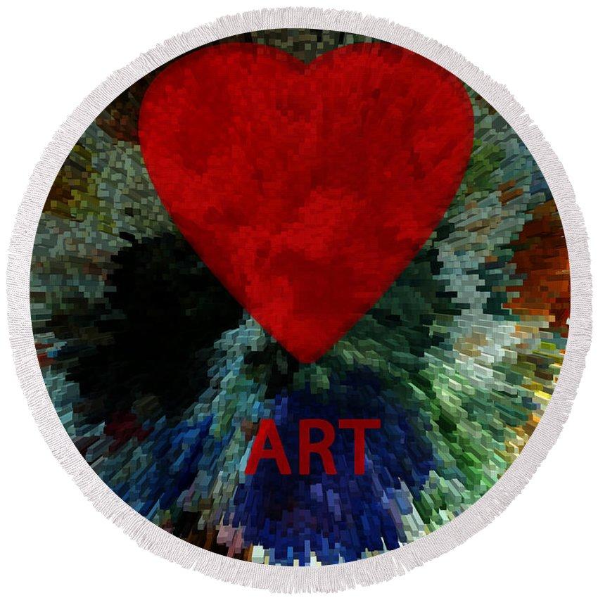 Love Art Round Beach Towel featuring the digital art Love Art 3 by Xueling Zou