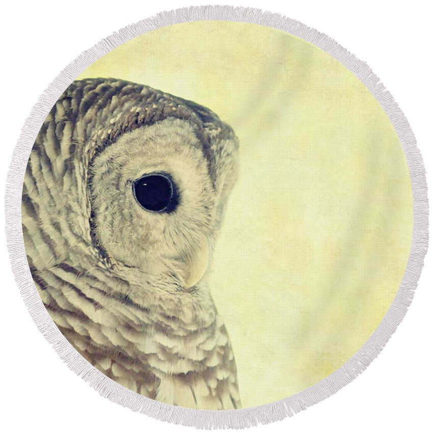 Owl Round Beach Towel featuring the photograph Lovely Lucy Barred Owl by Stephanie McDowell