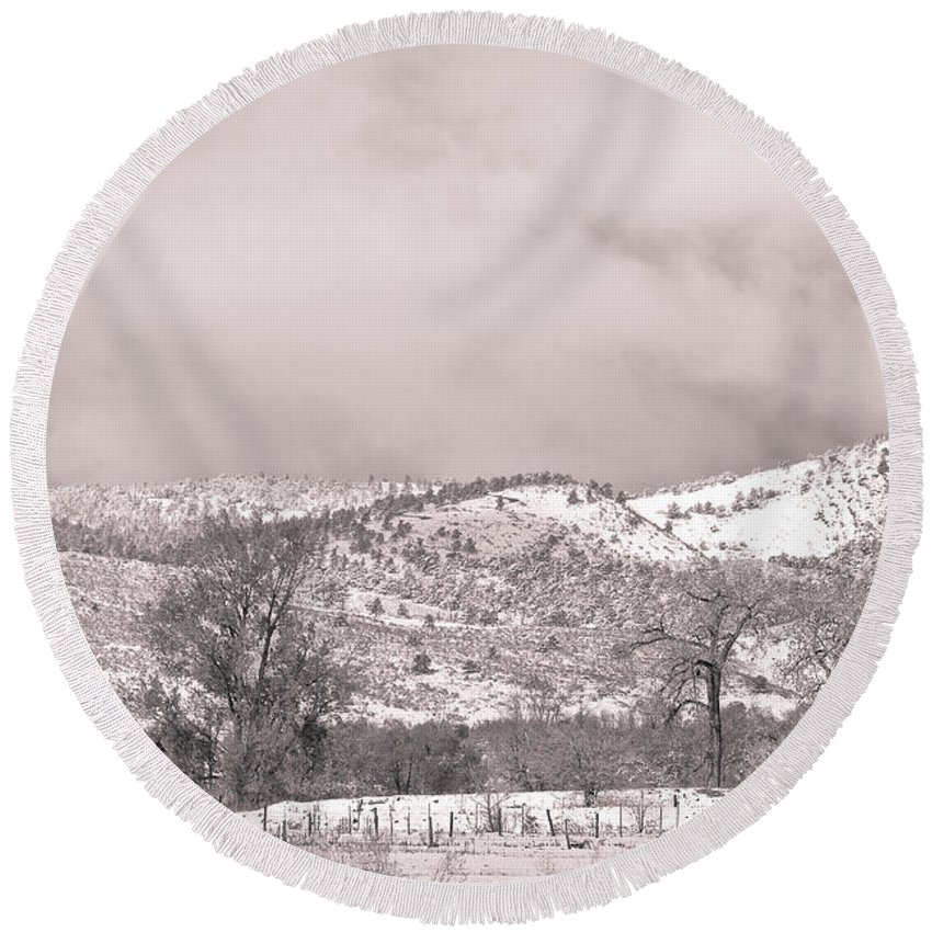 'low Clouds' Round Beach Towel featuring the photograph Low Clouds On The Colorado Rocky Mountain Foothills 3 Bw by James BO Insogna