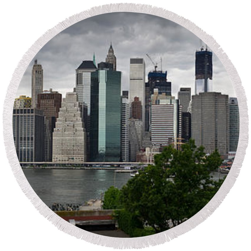 Brooklyn Round Beach Towel featuring the photograph Lower Manhattan From Brooklyn Panorama 1 by Gary Eason