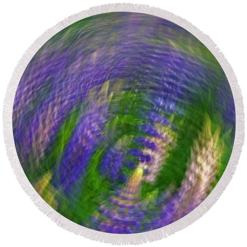 Lupines Round Beach Towel featuring the photograph Lupine Swirl by Jeff Galbraith