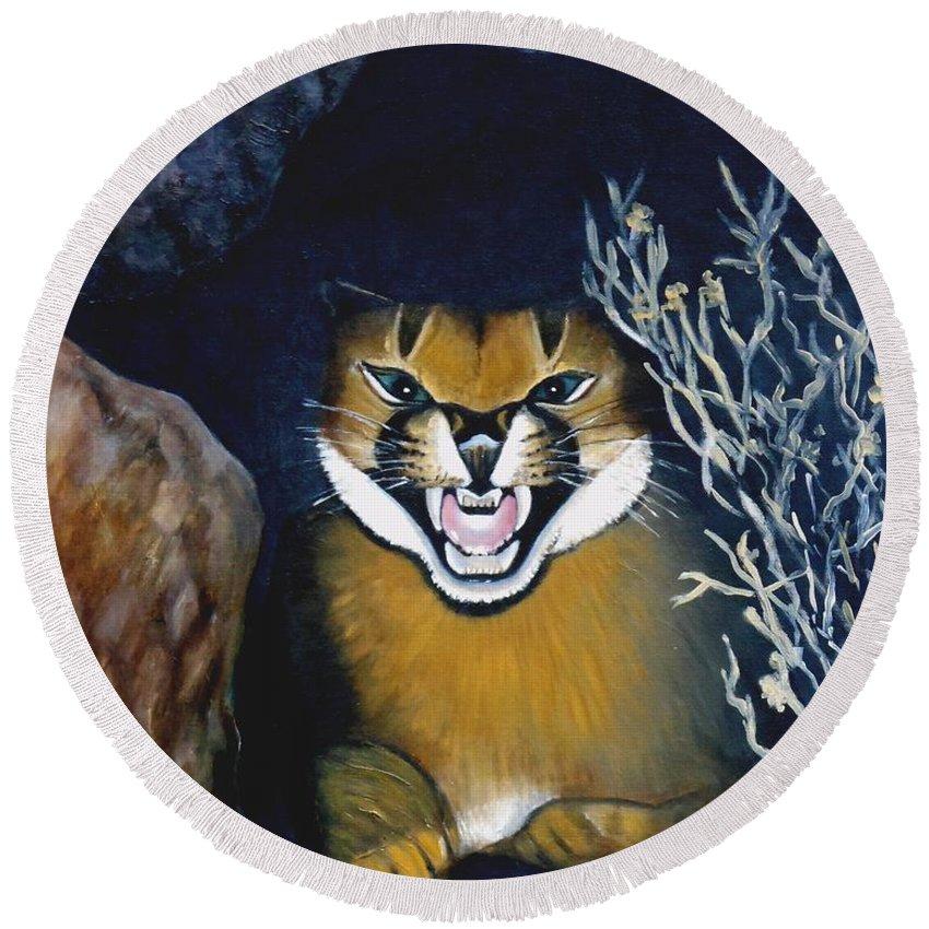 Lynx Round Beach Towel featuring the painting Lynx by Caroline Street