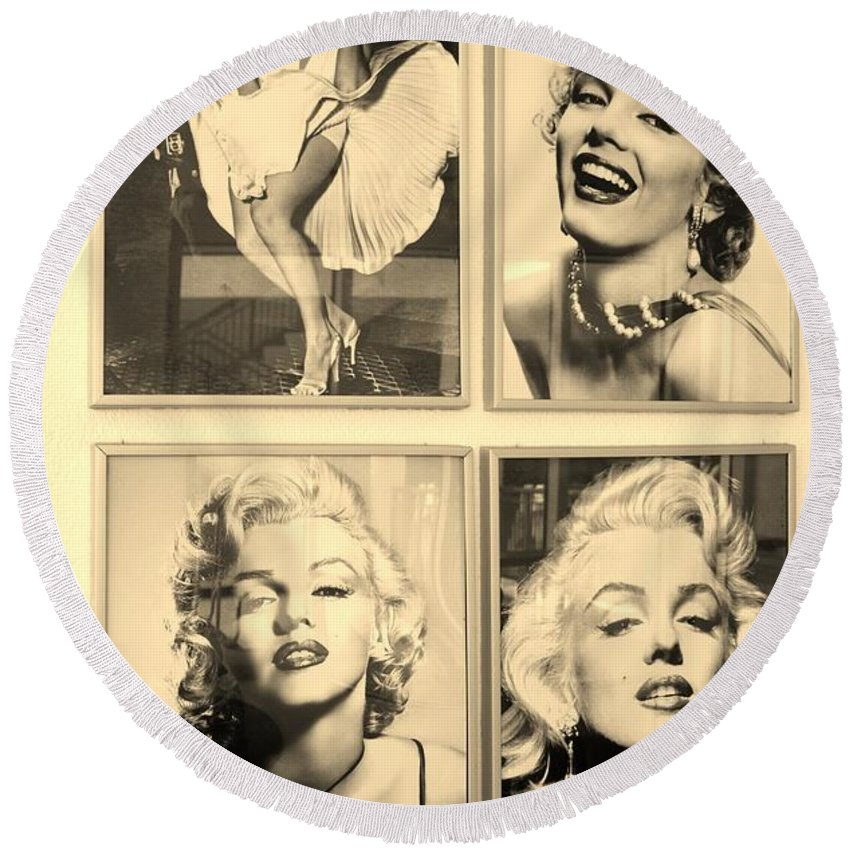 Marilyn Monroe Round Beach Towel featuring the photograph M M by Rob Hans