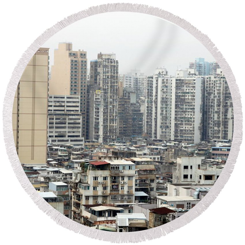 View Round Beach Towel featuring the photograph Macau View by Valentino Visentini