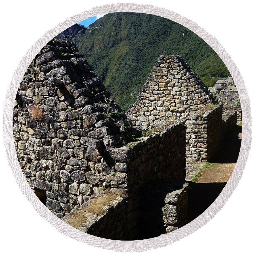 Peru Round Beach Towel featuring the photograph Machu Picchu Peru 8 by Xueling Zou