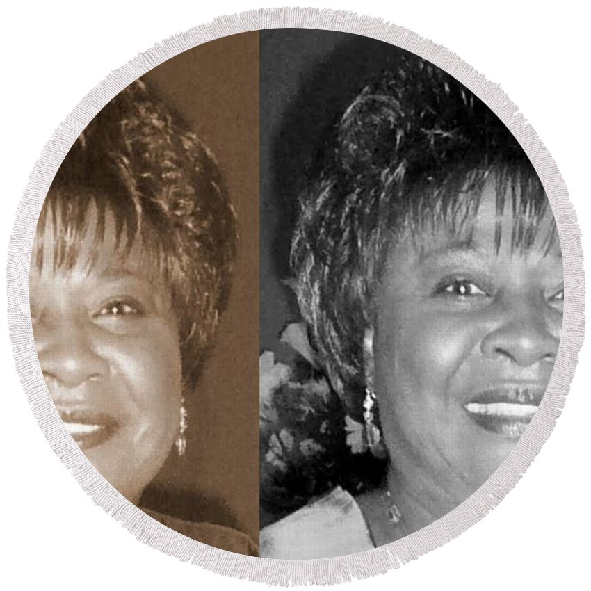 Round Beach Towel featuring the photograph Madge's Sister Aunt Shirley by Angela L Walker