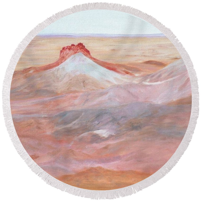 Oil Round Beach Towel featuring the painting Magic Of The Breakaways 2 2012 by Alex Mortensen