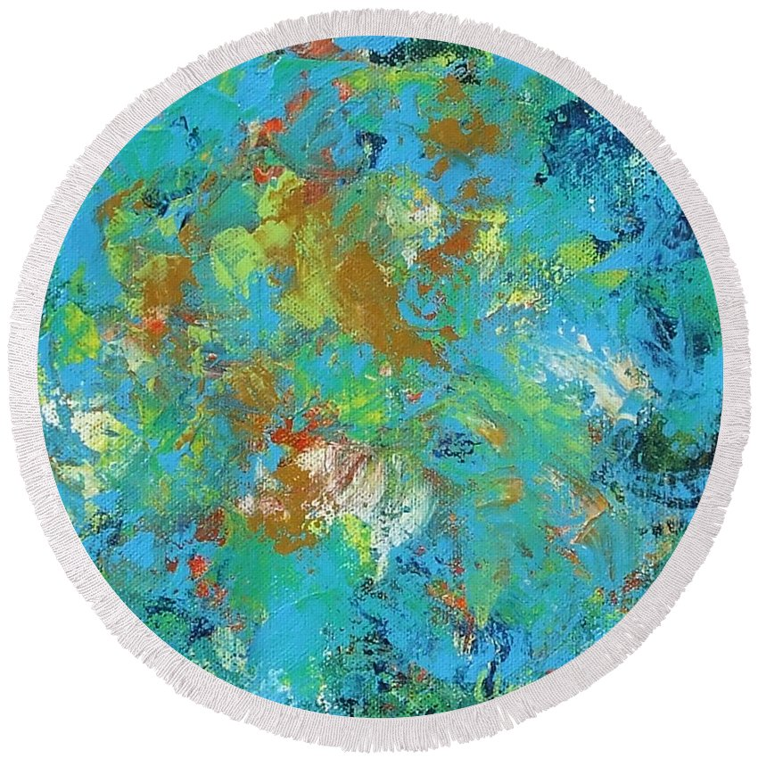 Abstract Round Beach Towel featuring the painting Magical by Claire Gagnon