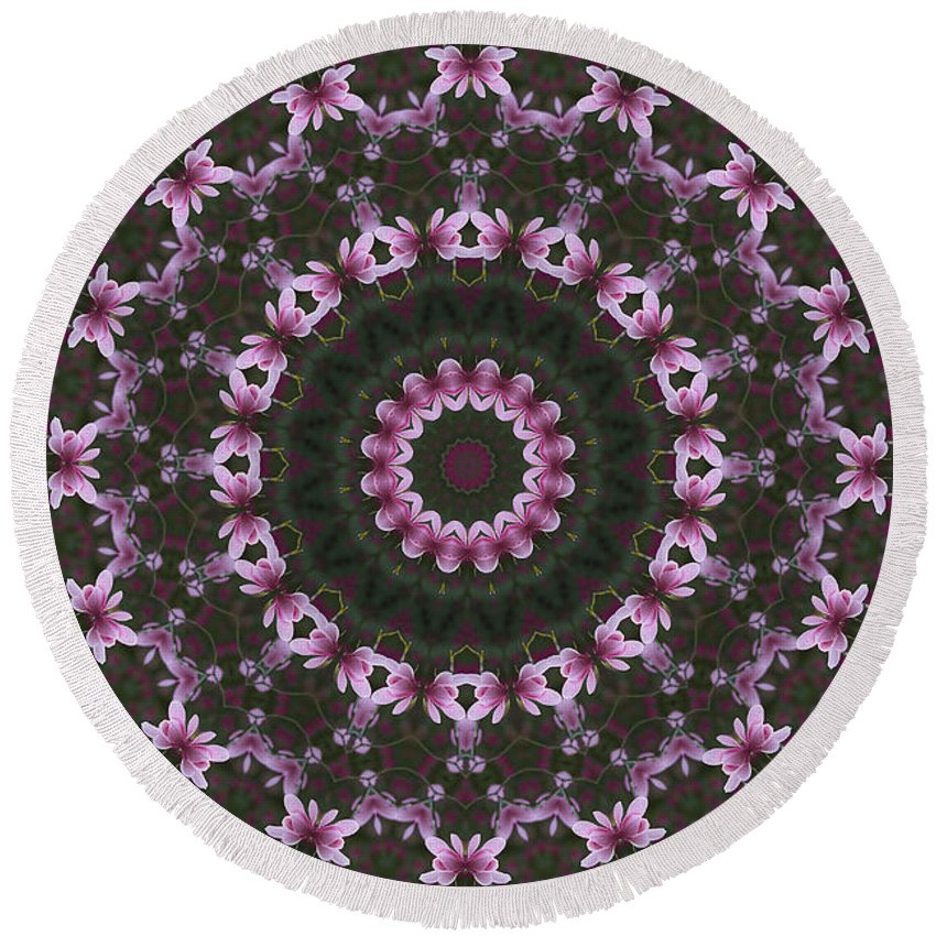 Clare Bambers Round Beach Towel featuring the photograph Magnolia Diva Abstract by Clare Bambers