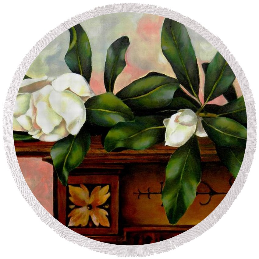 Magnolias Round Beach Towel featuring the painting Magnolias by Jolante Hesse