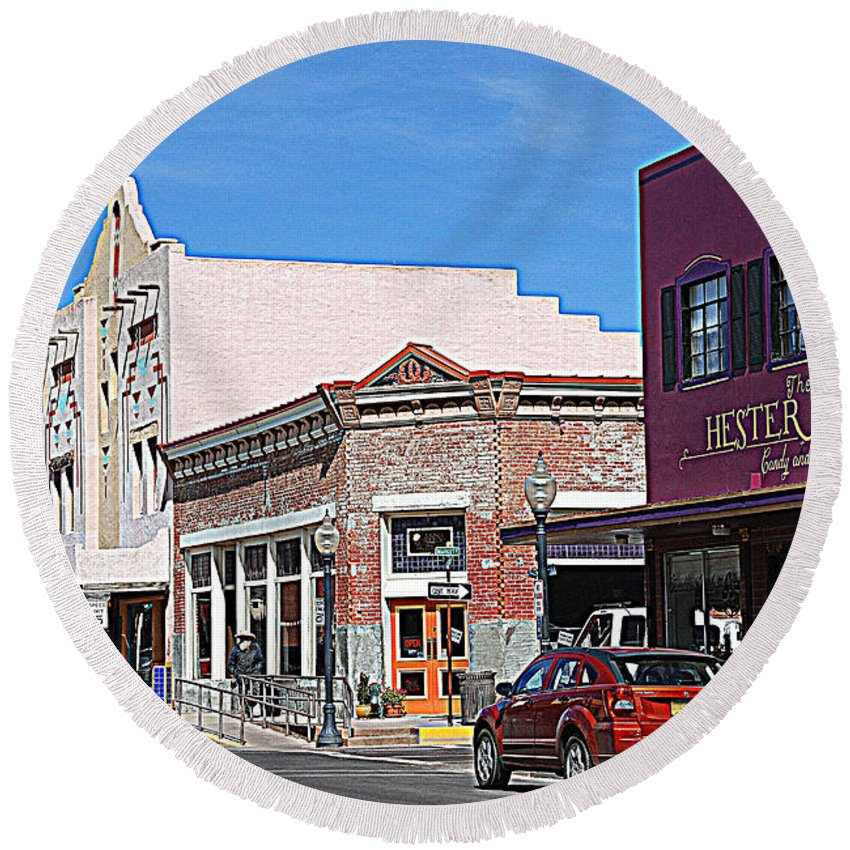 Main Street Round Beach Towel featuring the photograph Main Street In Silver City Nm by Susanne Van Hulst