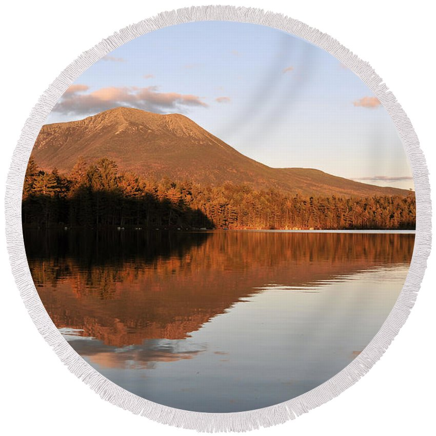 Maine Round Beach Towel featuring the photograph maine 25 Baxter State Park Mt. Khatahdin Reflection in Daicey Pond by Terri Winkler
