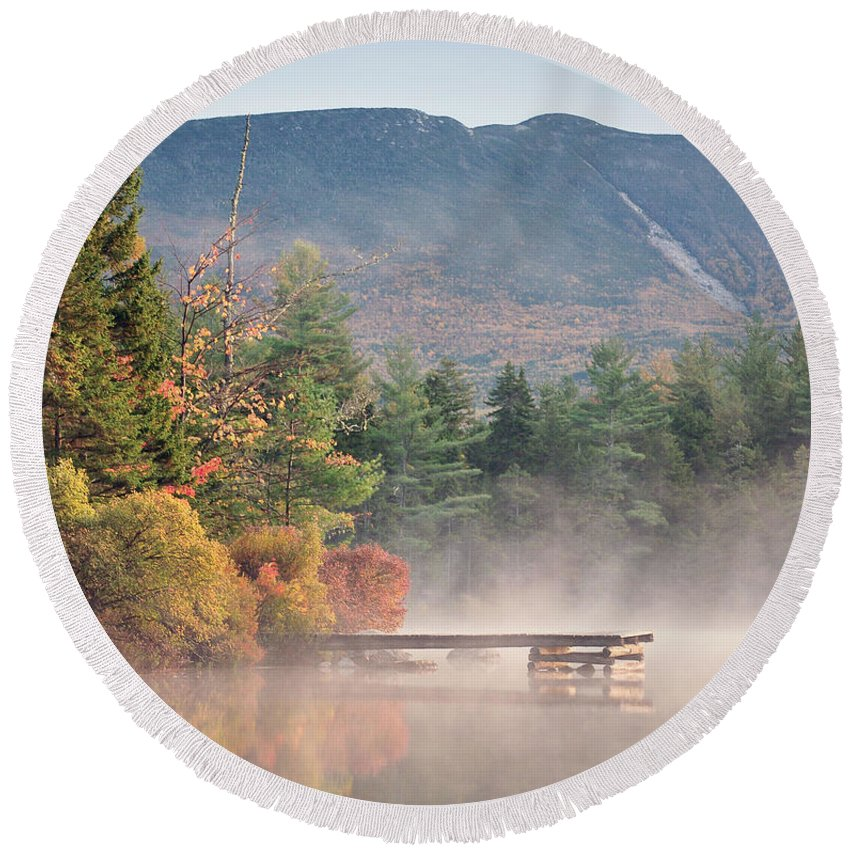 Maine Round Beach Towel featuring the photograph maine 26 Baxter State Park Mt. Khatadin Morning Mist on Daicey Pond by Terri Winkler