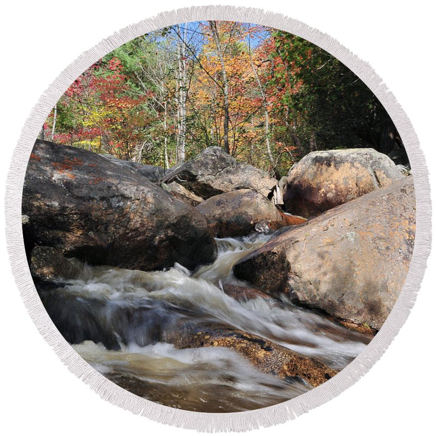 Maine Round Beach Towel featuring the photograph maine 29 Baxter State Park Trailside Stream by Terri Winkler