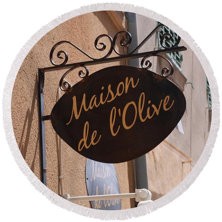 Maison De L'olive Round Beach Towel featuring the photograph Maison De L'olive by Dany Lison