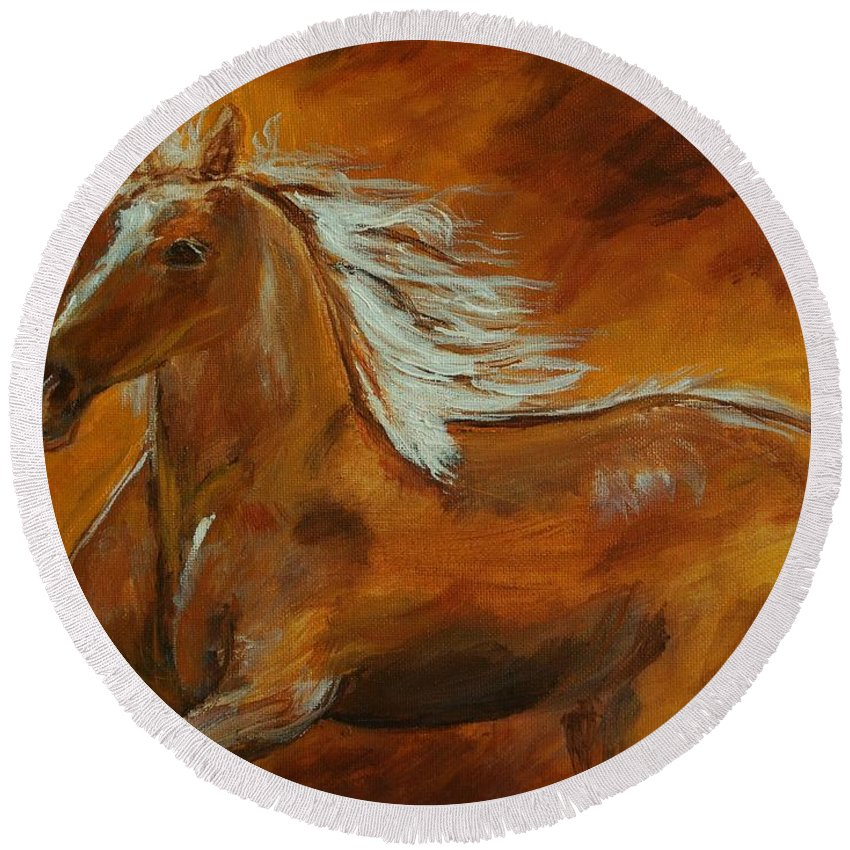 Horse Painting Round Beach Towel featuring the painting Majestic Freedom II by Leslie Allen