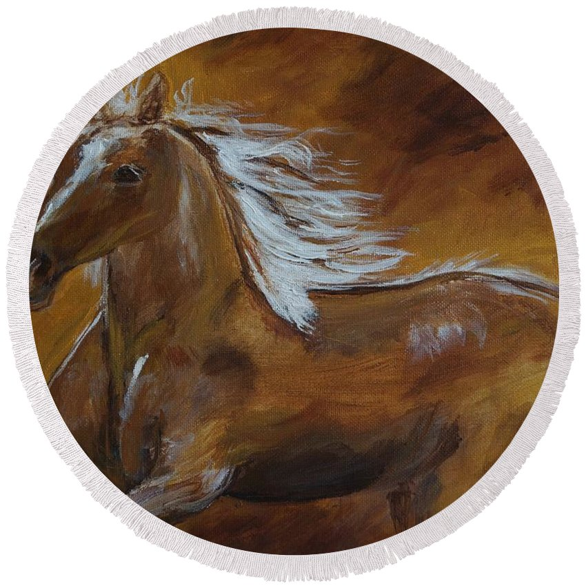 Horse Painting Round Beach Towel featuring the painting Majestic Freedom by Leslie Allen
