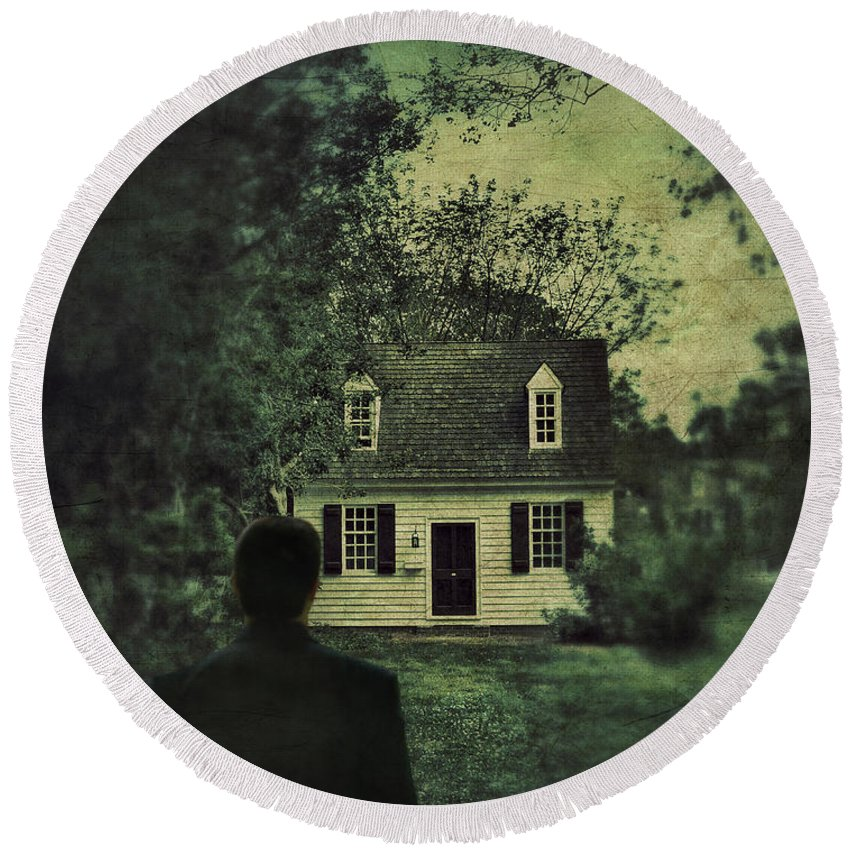Man Round Beach Towel featuring the photograph Man In Front Of Cottage by Jill Battaglia